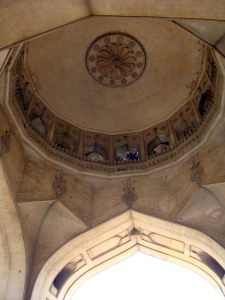 Looking up at the ceiling of the Charminar.