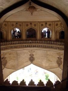 Looking in from the balcony, at the Charminar.