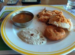 Breakfast at Citrus: tomato upma, idli, vada, chutney and sambaar.