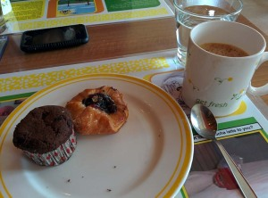 Coffee, a Danish pastry and a muffin at Citrus.