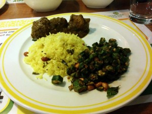 Dinner at Citrus: lemon rice, gongura mamsam, and bendakkai vedupu.