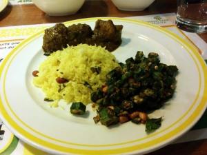 Dinner at Citrus: lemon rice, gongura mamsam, and bendakkai vedupu.