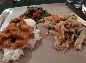 Lunch at Dao: lamb panang curry, steamed rice, a vegetable stir-fry, and vegetable phad thai.