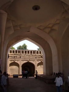The 'Clapping Portico' at Golconda, just inside the Balahissar Gate.