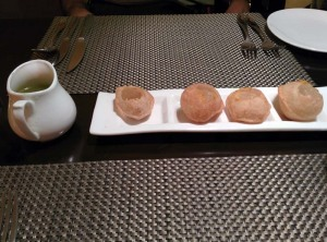 Amuse bouche at Kebab Theater: pani puris.