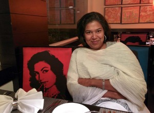 At Kebab Theater: Madhulika Liddle with a favourite actress, Helen.
