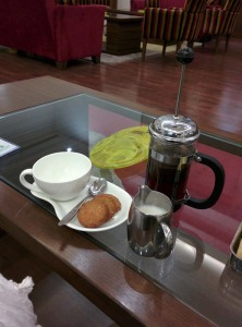 At the Tea Lounge in Lemon Tree Premier: Kenyan AA Masai coffee and cookies.