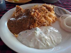 Biryani with mirchi ka salan and raita at Pista House.