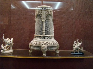 Carved ivory, much of it from the Mughal period.