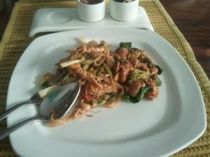 Main course at Soi Thai: pad thai, and a chicken and basil stir-fry.
