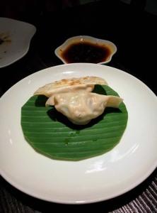 Chicken Shanghai dumpling: good stuffing, not-great skin.