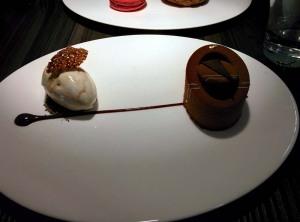 The chocolate and hazelnut mousse, served witb vanilla ice cream.