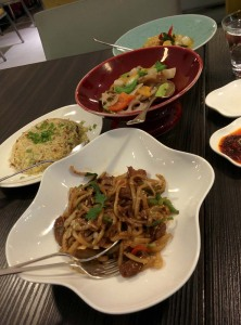 Mains: stir-fried udon noodles, chicken fried rice with XO sauce, and wild prawn curry.