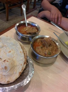 Chicken qorma, karahi chicken and rotis at Al Quresh.