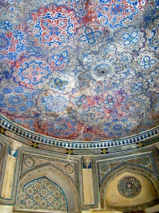 A view of the painted ceiling at the Tomb of Jamaali-Kamaali.