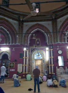 Inside the Jamaat Khaana mosque at the dargah. An unusual mosque, in that it's octagonal rather than the more conventional four-sided building.