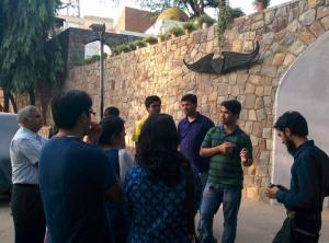 The walk begins: Asif introduces Nizamuddin Basti.
