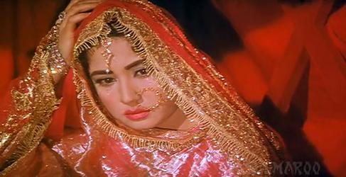 Meena Kumari as Sahibjaan in Pakeezah