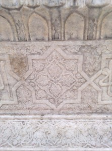 Carved marble at one of the tombs in the Dargah complex.