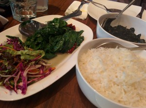 Lunch at Yeti: rice, doh nai, fried spinach.