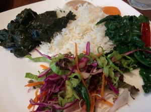 Doh nai with rice and fried spinach (and lots of salad).