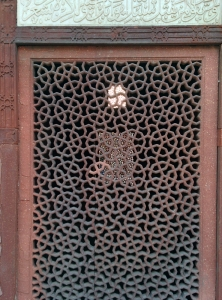 A sandstone jaali at the tomb.