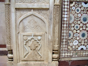 Carving and inlay at Atgah Khan's Tomb.