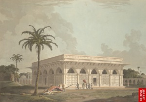The Daniells' painting of Chaunsath Khamba, from 1801 (picture courtesy: The British Library).
