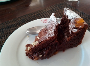 Gluten-free chocolate, apricot and brandy cake: the best of all that we had at Elma's.