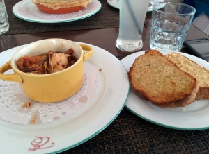 Lunch at Elma's: pil-pil prawns and garlic bread.