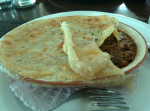 Steak and red wine pot pie: disappointing flavours and textures.