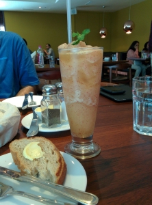 At Indigo Deli: a golden apple and cinnamon slush.