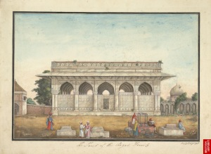 Chaunsath Khamba, depicted in Thomas Metcalfe's album, 1820. (Picture courtesy: The British Library).