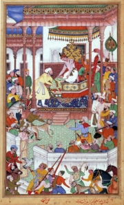 From the Akbarnama: Atgah Khan present Abdur Rahim Khan-e-Khanan to Akbar.
