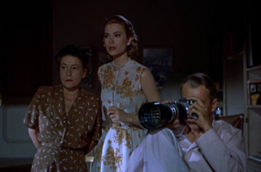 Thelma Ritter, Grace Kelly and James Stewart in Rear Window