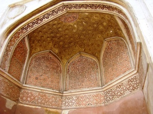 A painted arched section on the outside of Sabz Burj.