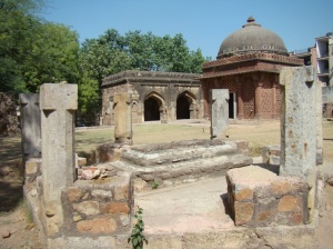 The six pillars that mark the remains of an unidentified tomb.