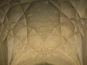 A view of part of the interior of Rahim's Tomb: this is incised plaster.