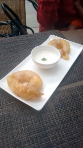 Cinnamon apple jalebi, served with coconut rabri.