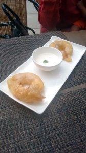 Cinnamon apple jalebi, served with coconut rabri.