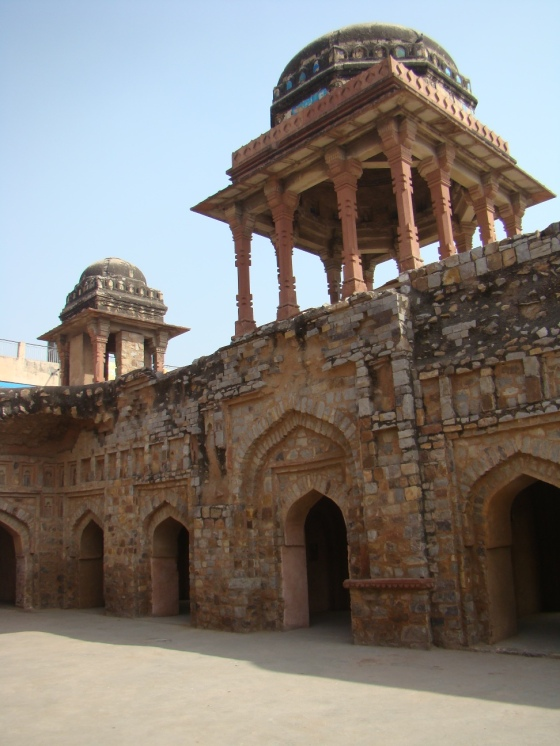 Jahaaz Mahal. You can see how the mortar has gone black here.