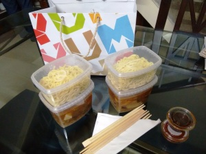 Boxes of pork ramen - noodles separate, broth separate - packed from Yum Yum Cha.