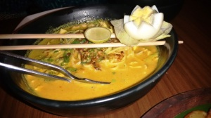 The laksa tribute at Mamagoto: this one's the chicken version, though there are veggie and prawn versions too.