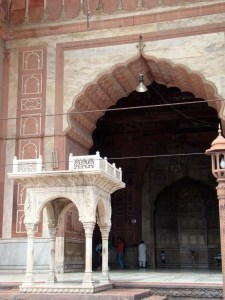 At the Jama Masjid, a mimbar which stands outside; the main mimbar is inside, next to the mihrab.
