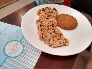 From Sucre: Coconut lemon chilli oat cookie, and cranberry and almond biscotti,
