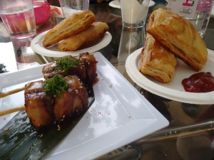 Keema pattice from Soda Bottle Opener Wala, and signature pork belly from Guppy by Ai.