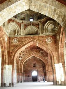 Inside the Qila-e-Kohna mosque.