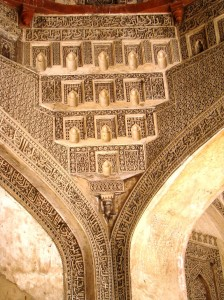 Incised plaster decorating the squinches in the mosque.