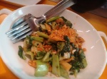 A vegetable stir fry: pak choy, cashew nuts, water chestnuts and bamboo shoot.