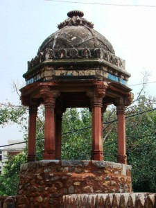 A small domed chhatri or pavilion at the mosque.